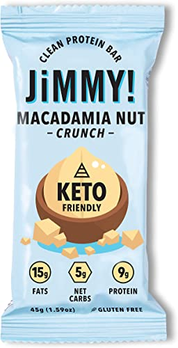 Jimmy Keto Bar, Delicious Protein Snack for Keto Diet, High Fats – 15g Fat, Low Carb – 5g Net Carbs, 9g Protein, Gluten Free, Macadamia Nut Crunch, Single Sample Bar, Packaging May Vary