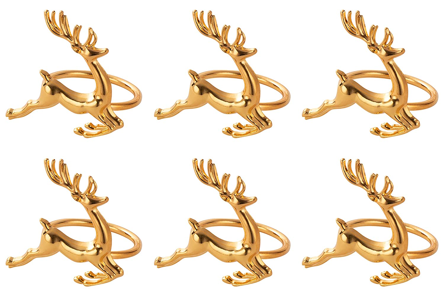 Juvale Christmas Napkin Rings 6-Pack Gold Reindeer Festive Design Napkin Holder Accessories Lunch and Dinner Table Decoration Holiday Themed Party Supplies