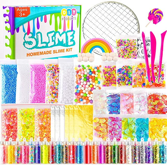 KUUQA 61 Pcs Slime Kit, incluyendo Fishbowl Beads, papel azúcar ...