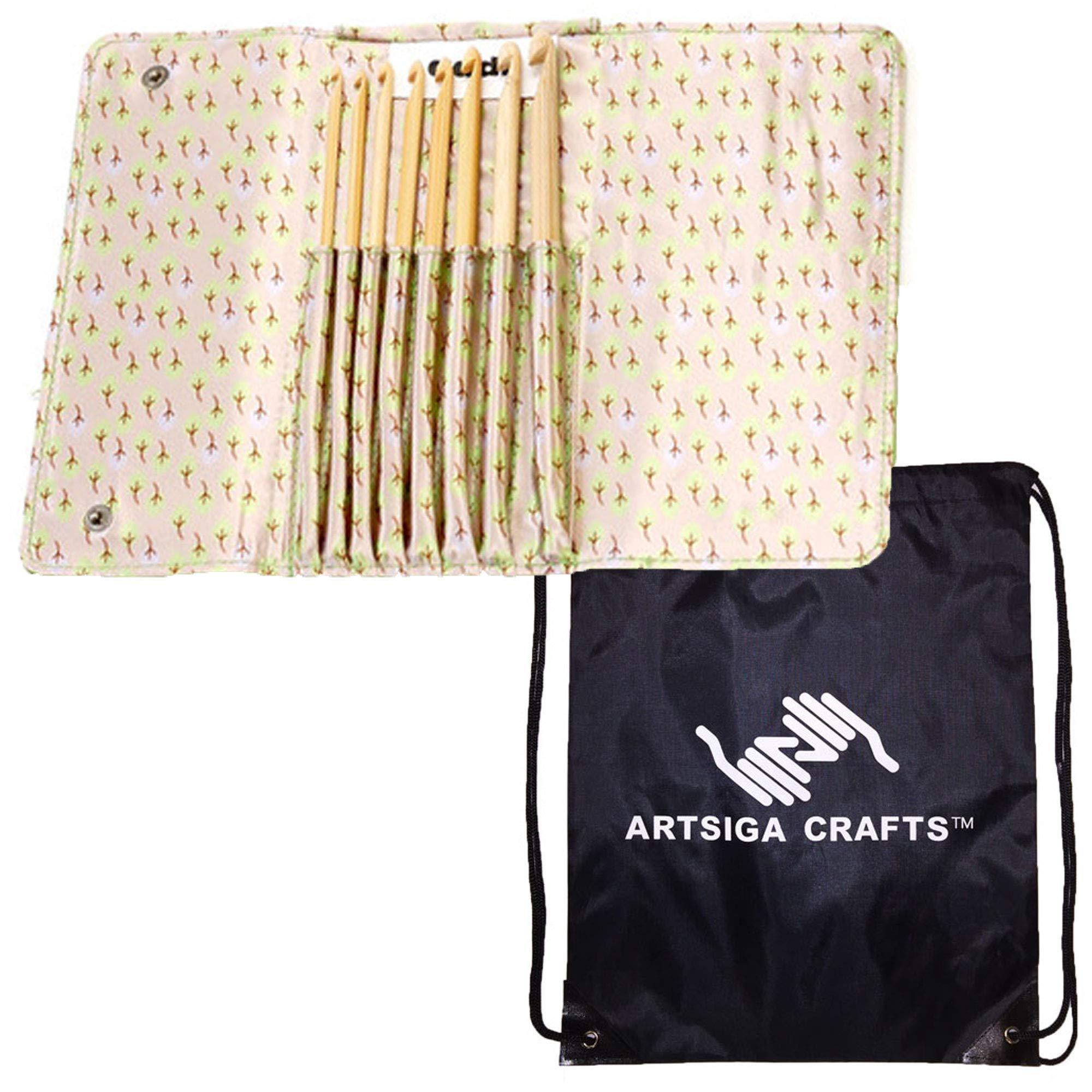 addi Knitting Needles Crochet Hook Click Bamboo Interchangeable System Bundle with 1 Artsiga Crafts Project Bag