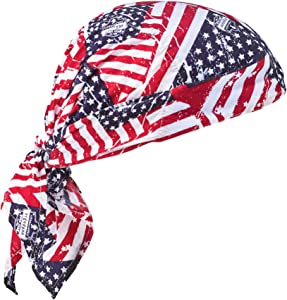 Ergodyne Chill-Its 6710CT Evaporative Cooling Dew Rag, Stars and Stripes