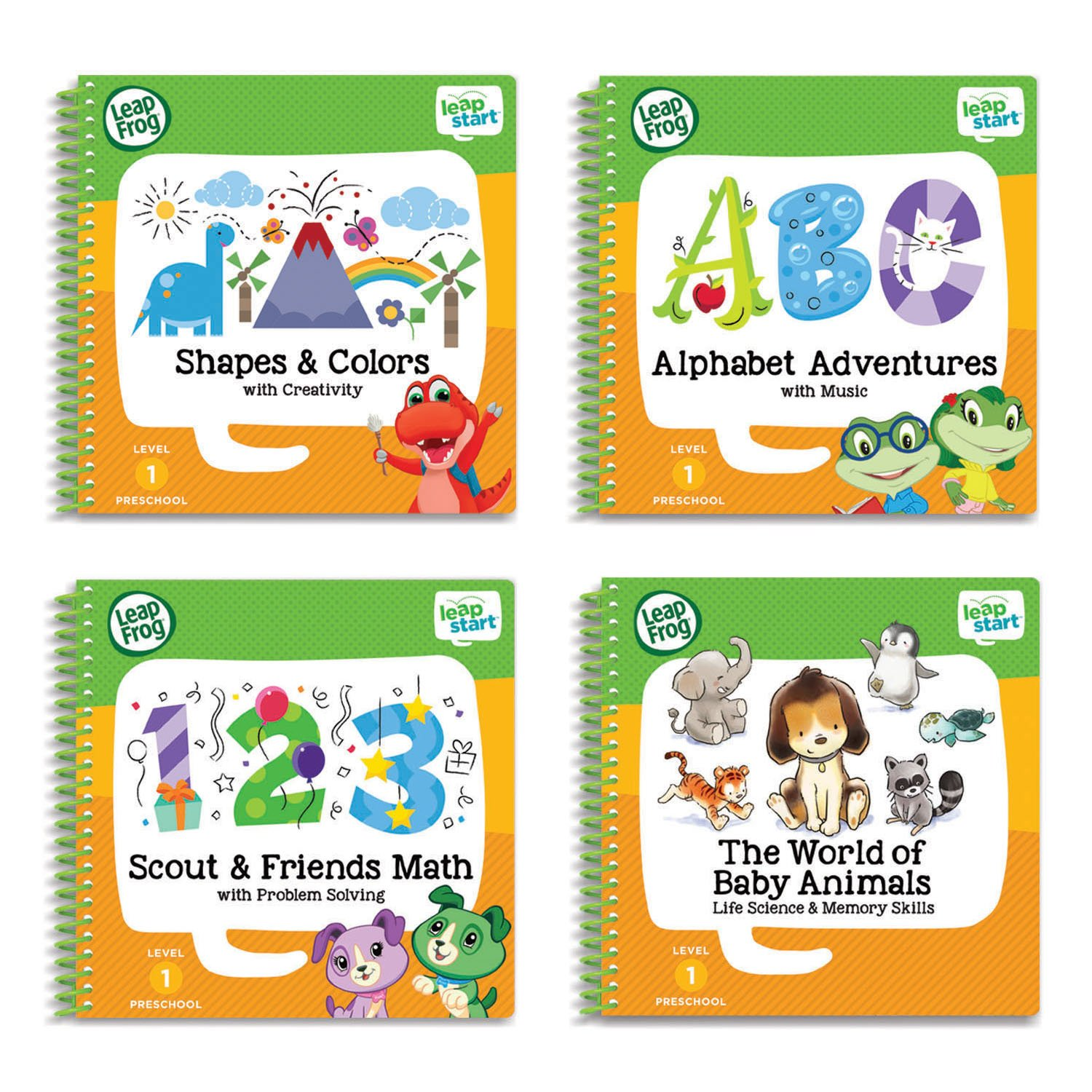 Level 1 Preschool 4 in 1 Activity Book Bundle ABC Shapes Colors Math ...