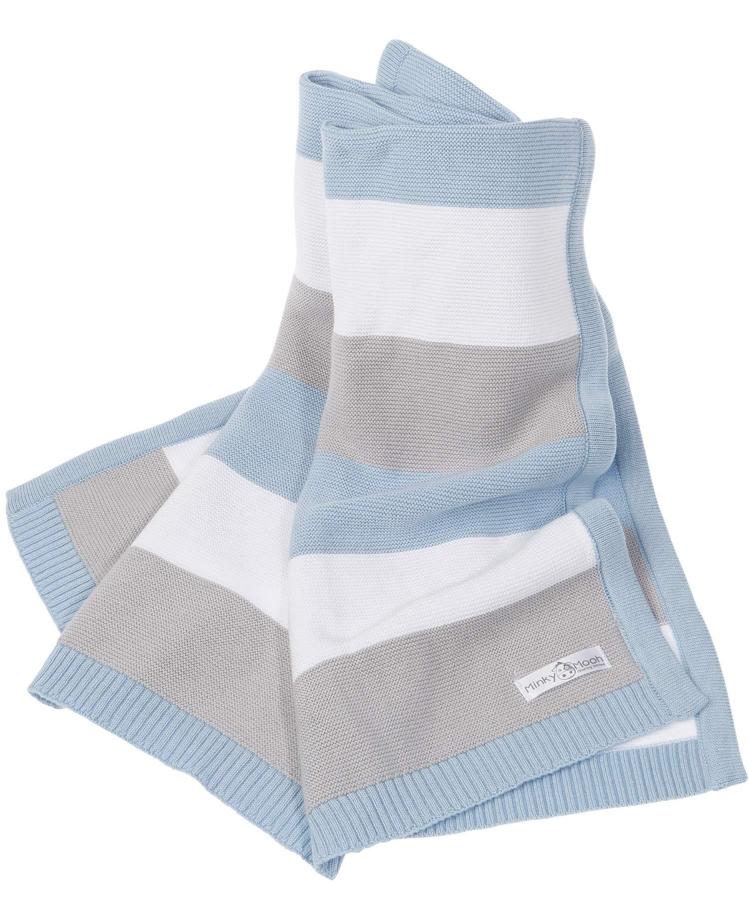 3650beb006 Babydecke aus 100% Bio Baumwolle - kuschelige Strickdecke ideal als Baby  Decke, Erstlingsdecke,