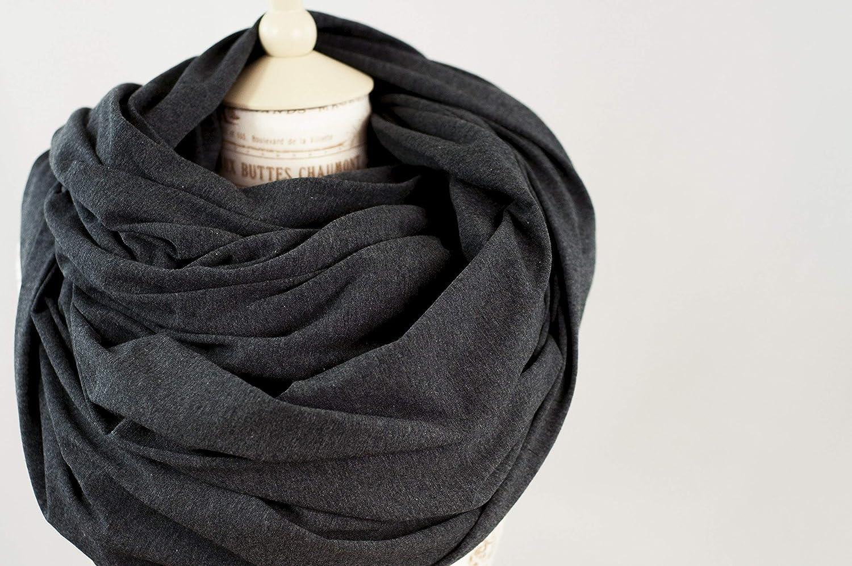 Charcoal Grey Chunky Oversized Jersey Infinity Scarf