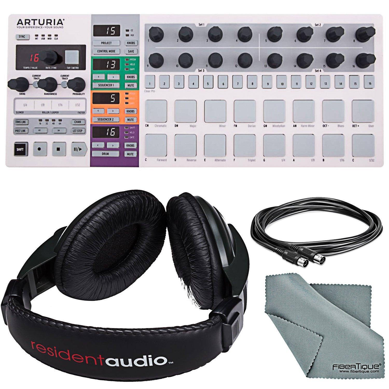 Arturia BeatStep Pro MIDI/Analog Controller & Sequencer and Basic Bundle w/Resident Audio R100 Pro Stereo Headphones + MIDI Cable + Fibertique Cloth