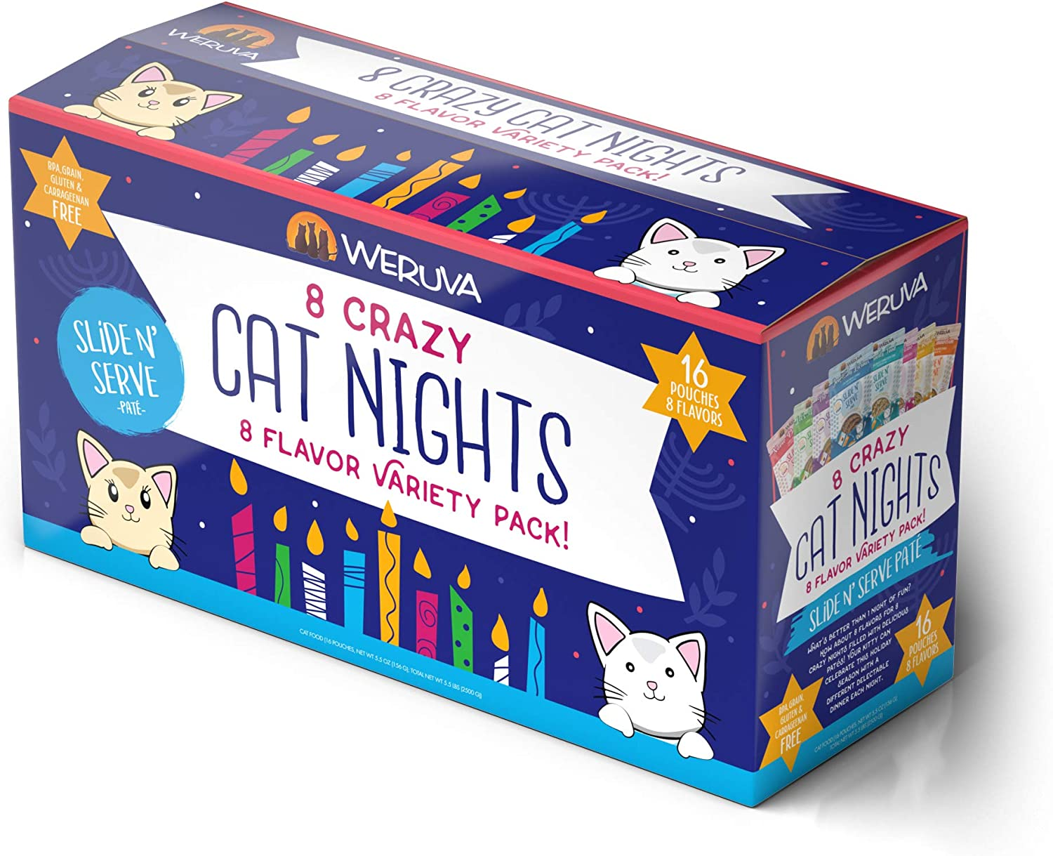 Weruva Slide N' Serve Paté Wet Cat Food, 8 Crazy Cat Nights Holiday Variety Pack, 5.5oz Pouch (Pack of 16)