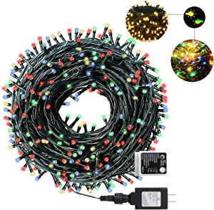 AmyHomie Christmas String Lights, 108Ft 300LED Color Changing Fairy Lights, Outdoor & Indoor Holiday Lights, UL Certified, Garden, Christmas Tree Decor Warm White & Multicolor
