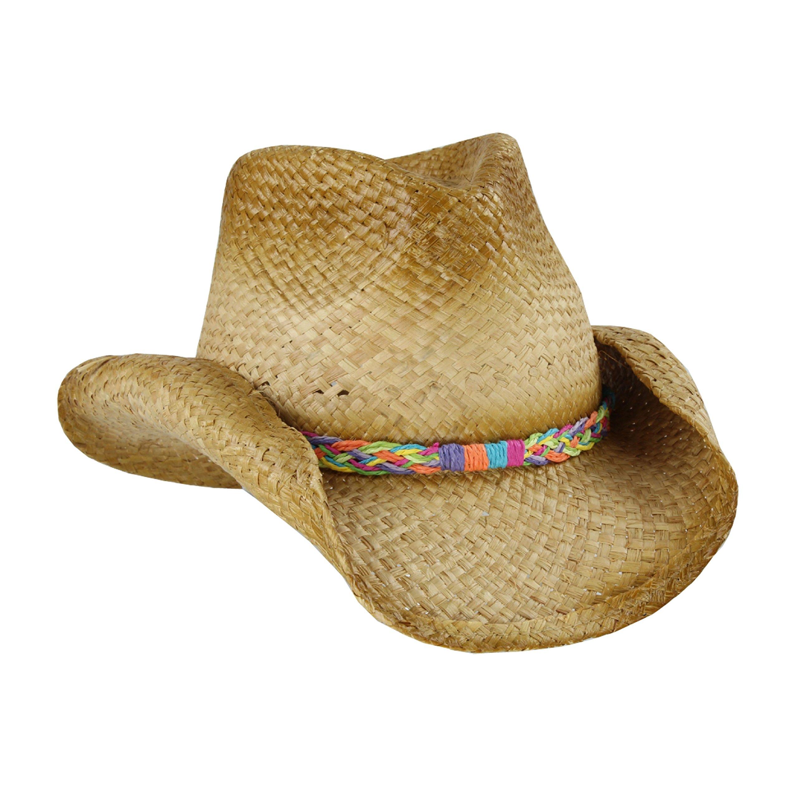 Straw Cowboy Sun Hat, Rainbow Braided Trim, Shapeable Brim, UPF 50 UV Block