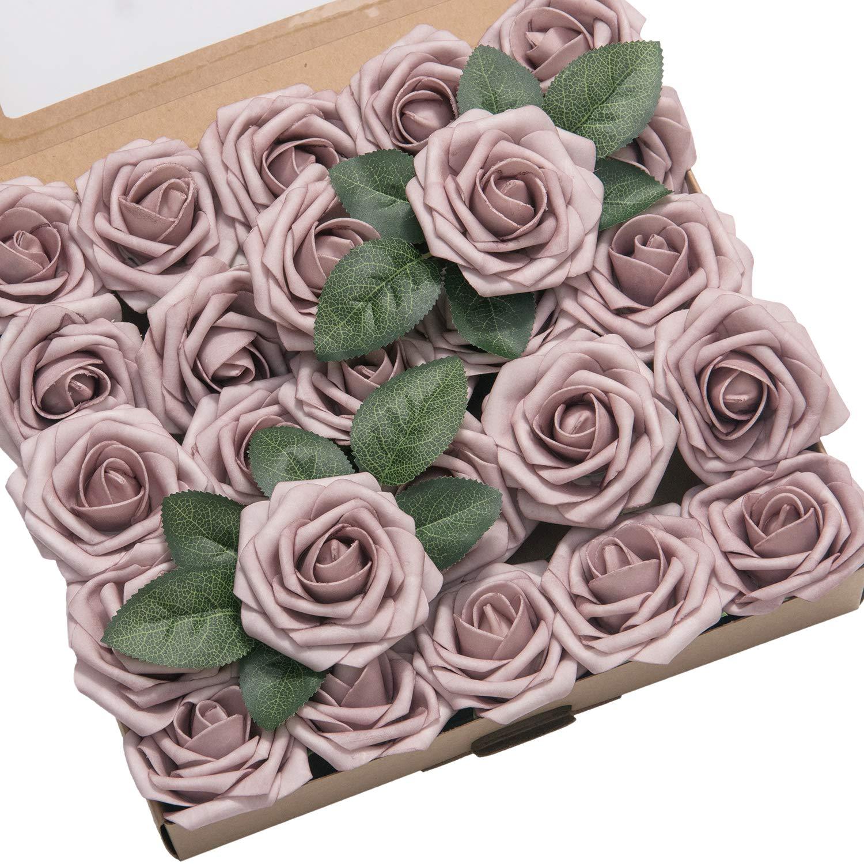 Lings Moment 50pcs Dusty Rose Artificial Roses Flowers With Stem For Diy Wedding Bouquets Centerpieces Floral Arrangements Decorations Silk Flower