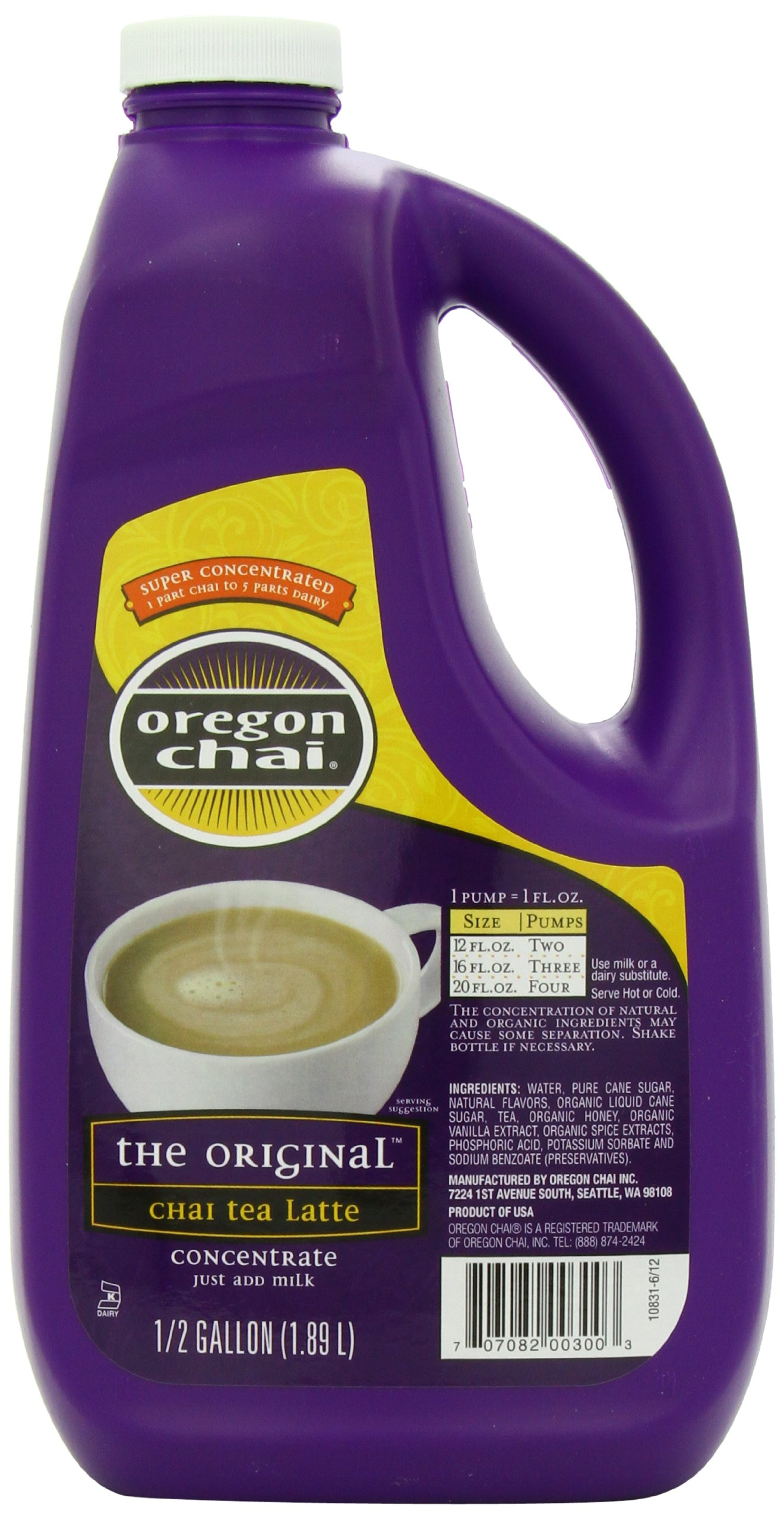 Oregon Chai Original Chai Tea Latte Concentrate, 64 Ounce Jug, Liquid Chai Tea Concentrate, Spiced Black Tea For Home Use, Café, Food Service by Oregon Chai