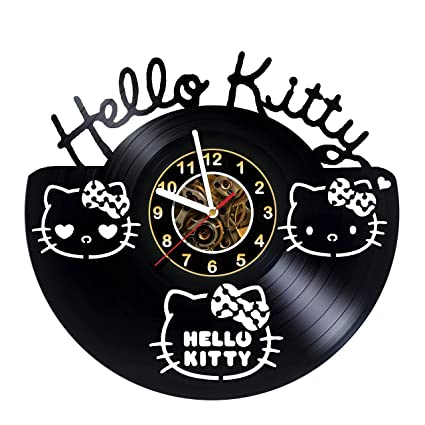 iskra shop hello kitty cartoon vinyl wall clock get unique gifts presents for