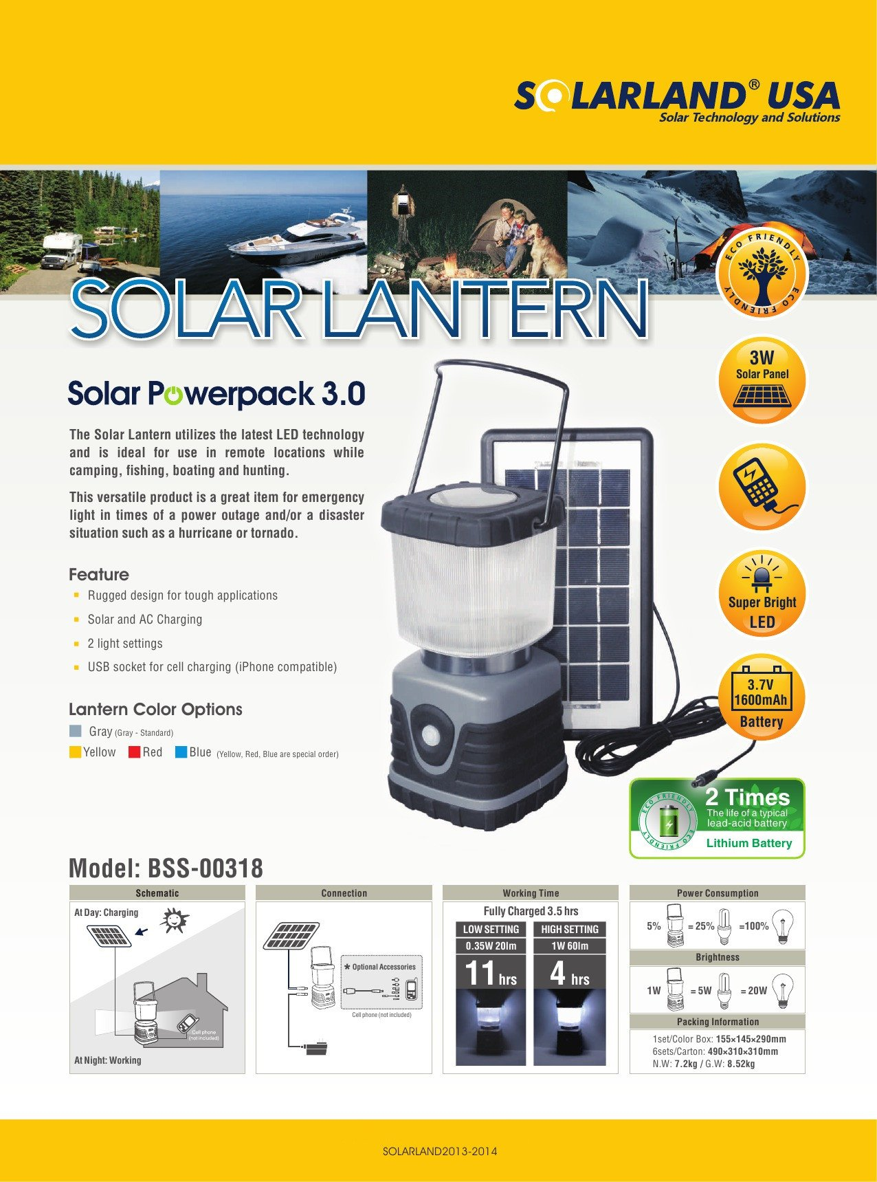 Solarland 3w Solar Panel Powered LED Camping and Emergency Lantern