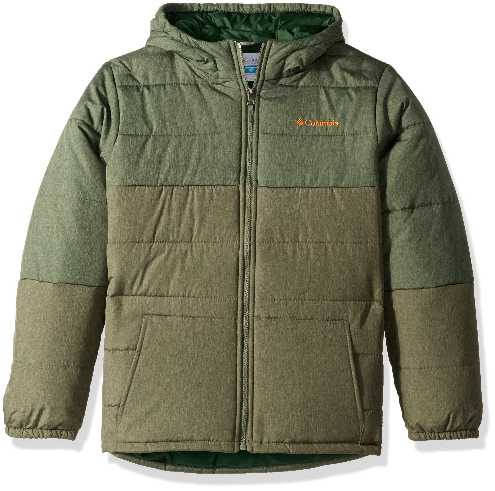 Columbia Kids Boy's Puffect¿ Jacket (Little Kids/Big Kids) Forest Heather/Cypress Heather/Solar Medium