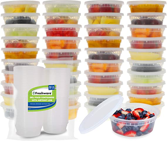 Freshware Food Storage Containers 50 Set 8 Oz Plastic Deli Containers With Lids Slime Soup Meal Prep Containers Bpa Free Stackable Leakproof Microwave Dishwasher Freezer Safe Kitchen Dining Amazon Com