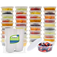 Freshware Food Storage Containers [50 Set] 8 oz Plastic Deli Containers with Lids...