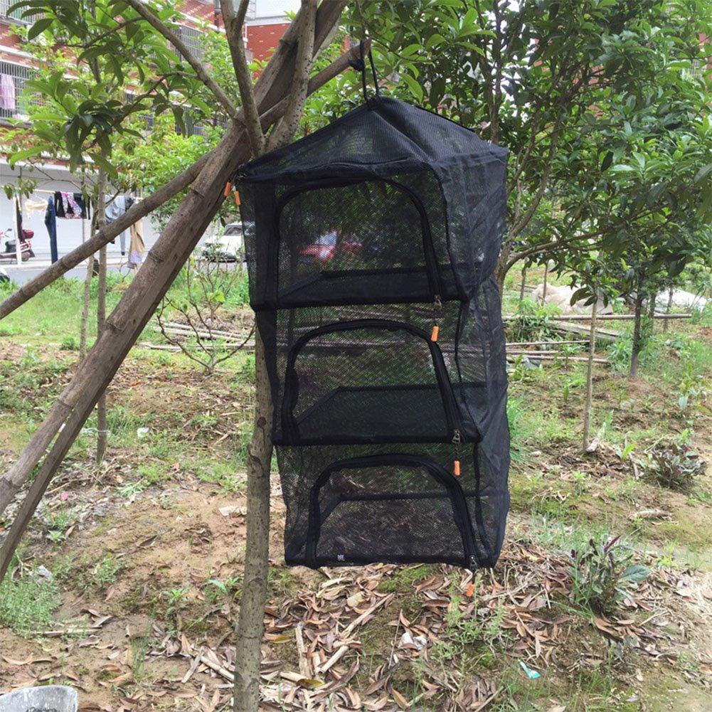 Fashionwu Outdoor circular drying net, Zipper Storage Net Organizer Bag 4 Shelf