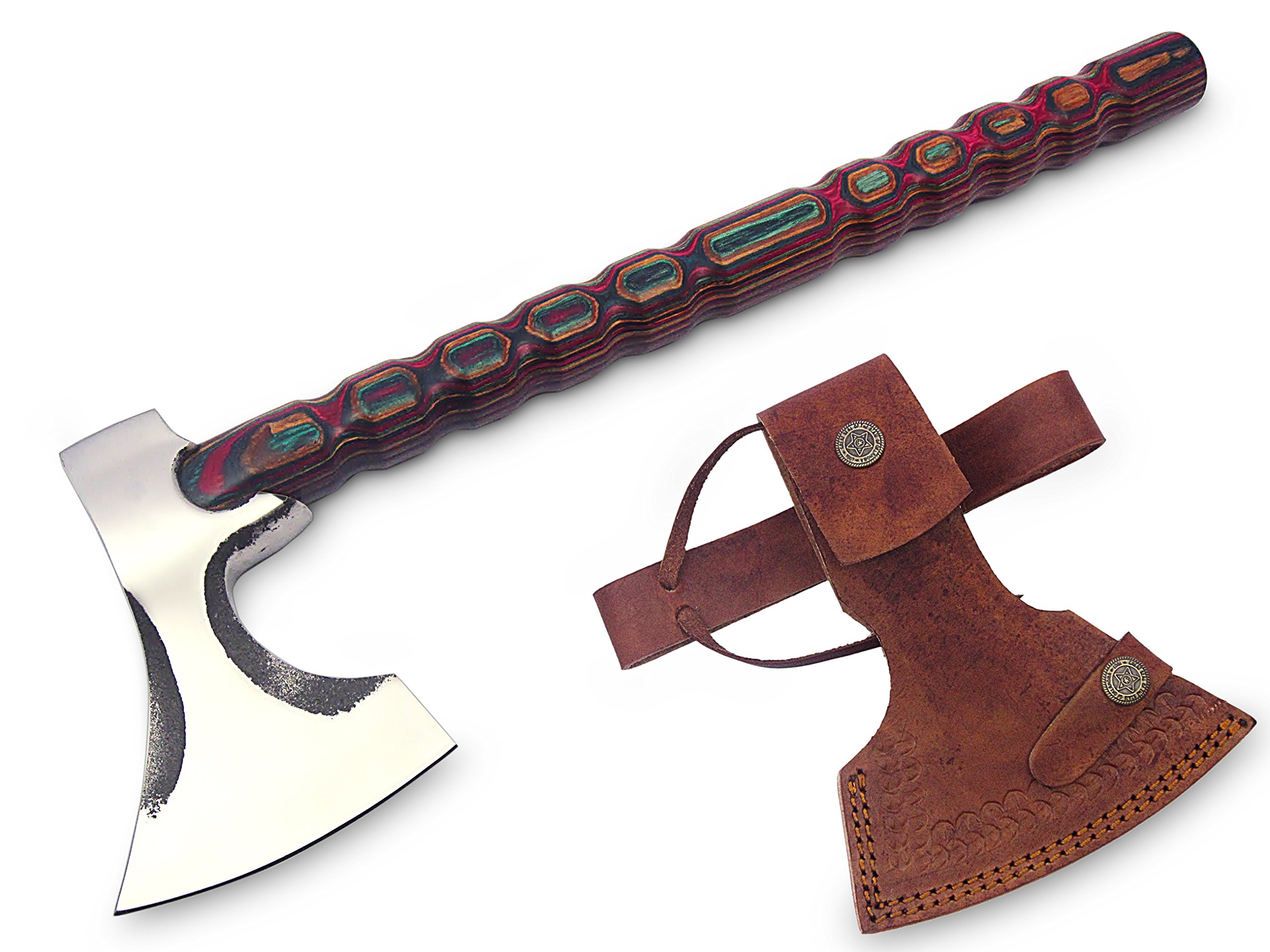 MDM NEW HATCHET TOMAHAWK VIKING AXE FULLU FUNCTIONAL COMBAT BUCHCARFT AXE WITH DIAMOND WOOD HANDLE