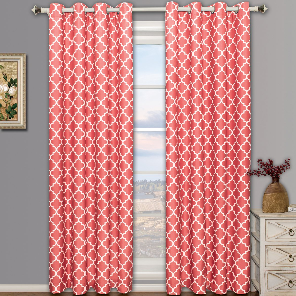 Meridian Brick Red-Orange Top Grommet Room Darkening Window Curtain Panels, Pair / Set of 2 Panels