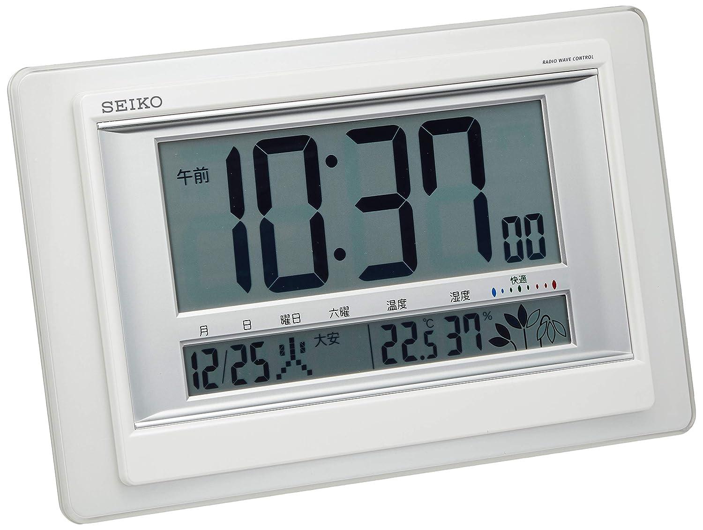 Seiko Reloj (Seiko reloj) multiplicado lugar común digital Nivel de confort pantalla Visualización de la temperatura humedad pantalla Radio reloj blanco ...