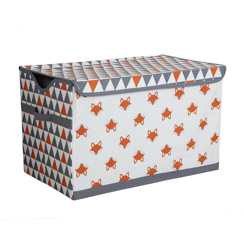 Bacati Playful Foxs Storage Toy Chest, Orange/Grey PFOGSTC