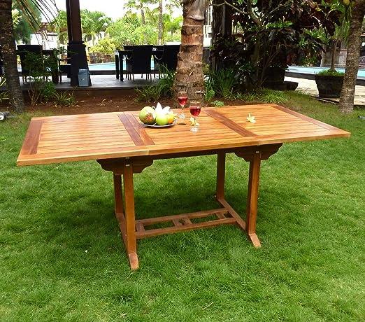 Mesa de jardín madera de teca encerada rectangular, para 8 personas: Amazon.es: Jardín