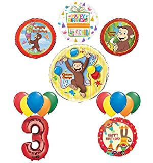 The Ultimate 16pc Curious George 3rd Birthday Party Supplies And Balloon Decorations