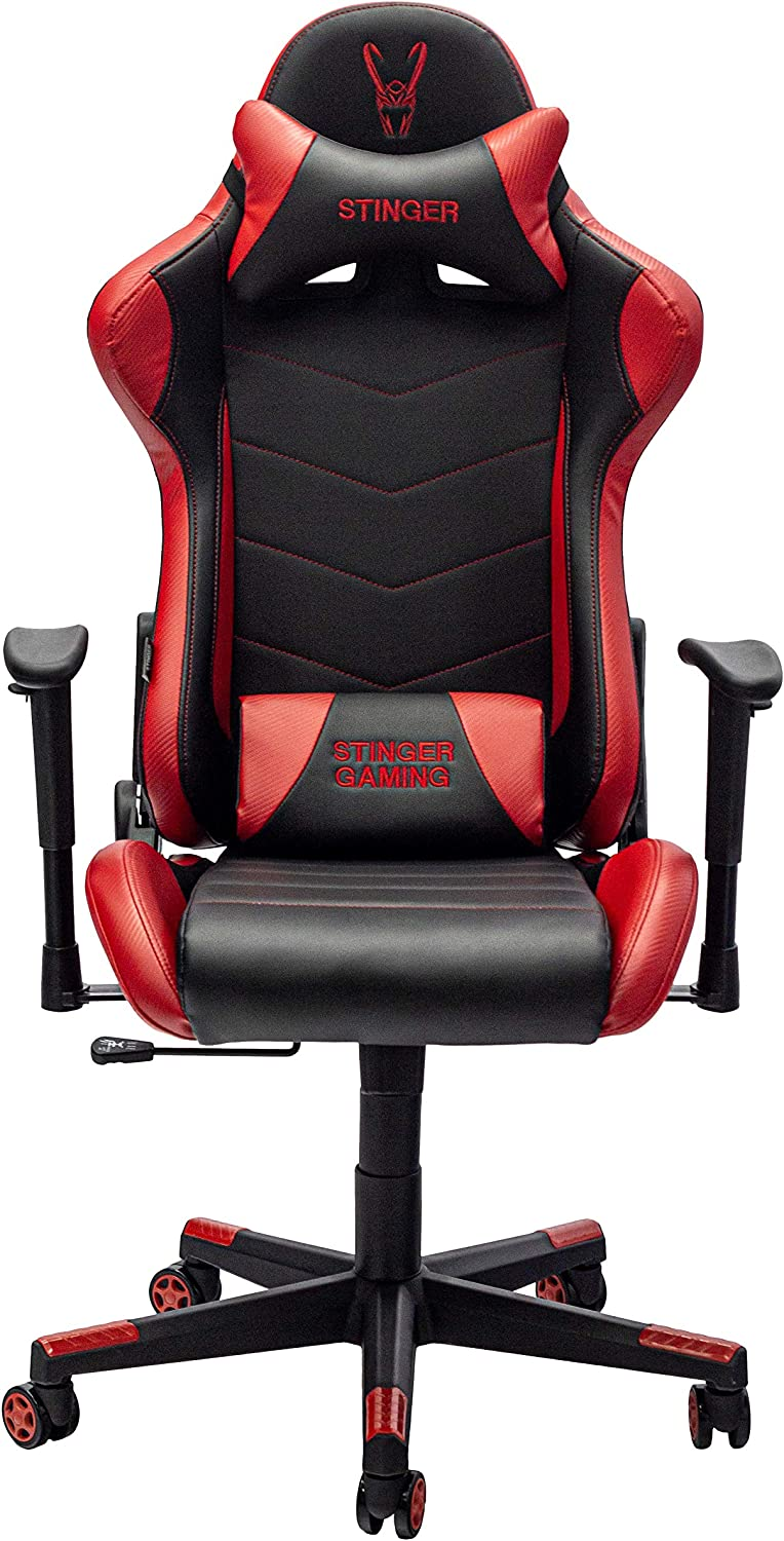 Woxter Stinger Station Red - Silla Gaming (Eje Acero, Levantamiento por Gas Pistón Clase 4, Ergonómica, Reposabrazos 2D, Alt/Incl Ajustable, Refuerzo de Foam MD, Racing, Cojín Lumbar/Cervical)