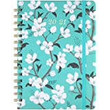 "2020-2021 Planner - Academic Weekly & Monthly Planner with Tabs, 6.3"" x 8.4"", July 2020 - June 2021, Hardcover with Back Pocket + Thick Paper + Banded, Twin-Wire Binding - Teal Floral"