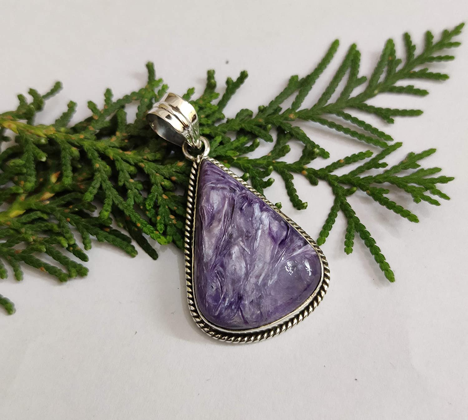 925 sterling silver and Charoite pendant necklace