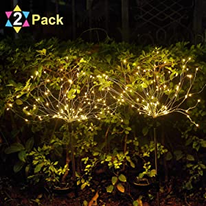 HeyMate Solar Lights Outdoor Decorative-Warm White Solar Fireworks Lights with 105 LED Powered 35 Copper Wires Solar Lights Outdoor Pathway Lawn Patio Yard Walkway Driveway(2 Pack)