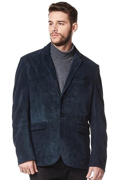 Chaqueta de Cuero Real con Estilo para Hombre Azul Marino Suede Milano 2 Botones Classic Blazer Coat 3450: Amazon.es: Ropa y accesorios