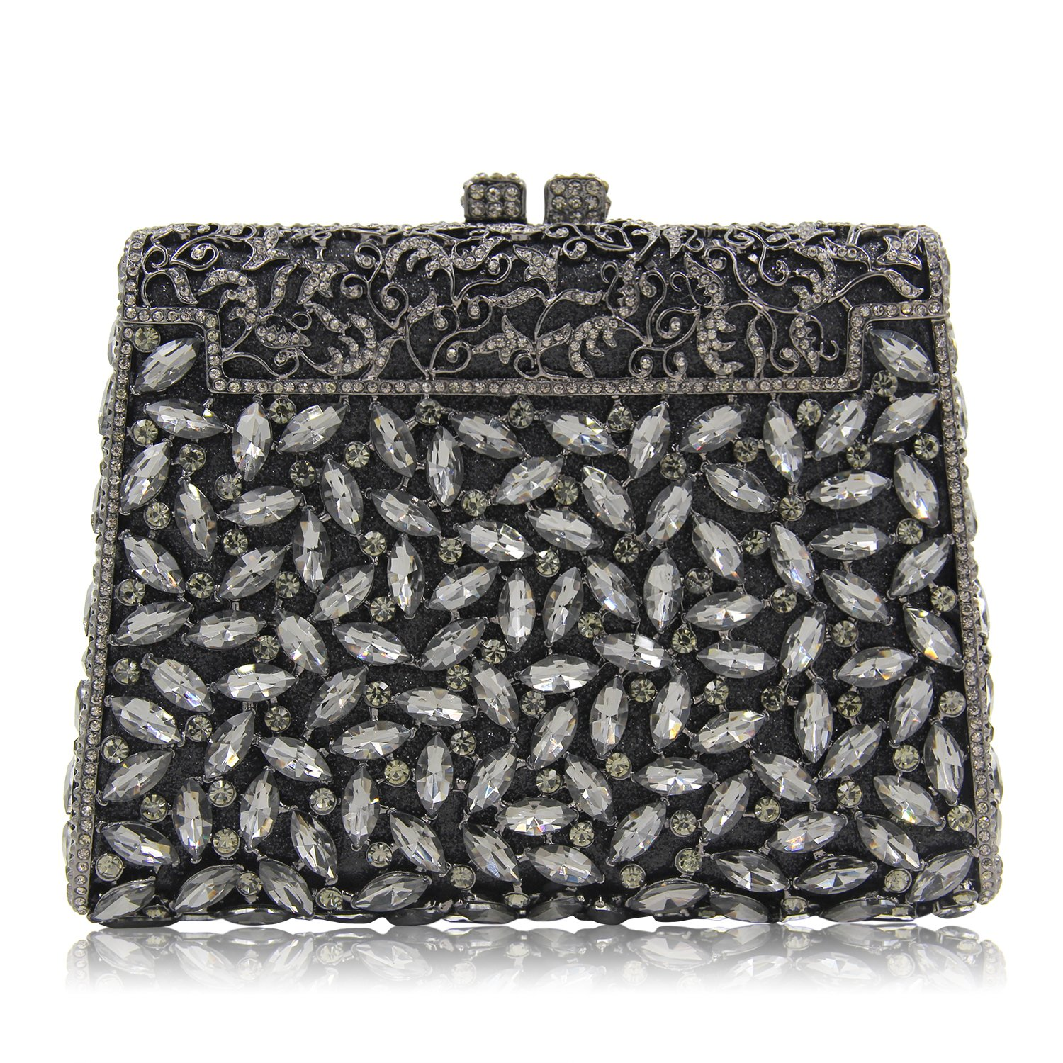 Milisente Women Evening Clutches Bag Diamond Stones Crystal Clutch Purse Handbag (Deep Grey)