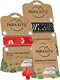 Parakito - PROTECTION ANTIMOUSTIQUE NATURELLE - KIT 2 x Para'kito BRACELET (Rouge et Noir) + 1 x Recharge Para'kito Pour BRACELET-RfNz