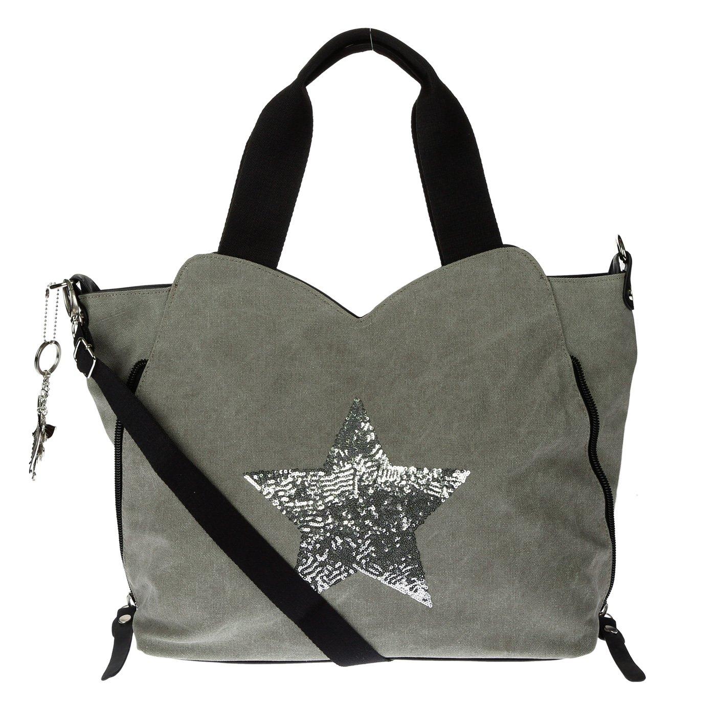 Kossberg F-3151-1 Sac pour femme, sac à bandoulière, sacoche, sac shopper, avec étoile en cuir sac à bandoulière avec étoile en cuir - Beige - Modell 2 Beige