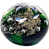 Art Deco Home - Briefbeschwerer FISCHE, Glas, grün, 9 cm - 10162SG
