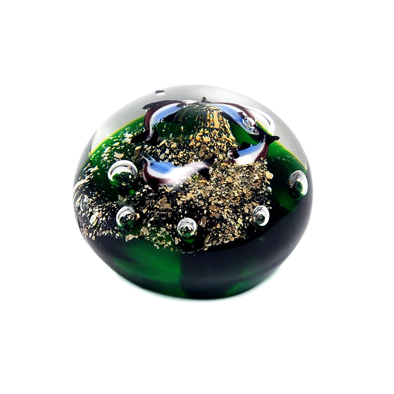 Fermacarte PESCI vetro verde 9 cm