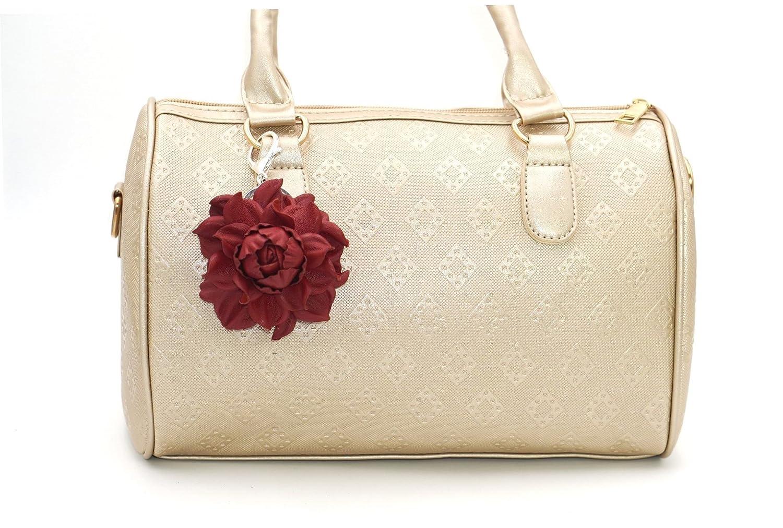 ed2bc55e3780 Genuine deep red leather flower bag charm handmade jpg 1500x1012 Leather  flower purse