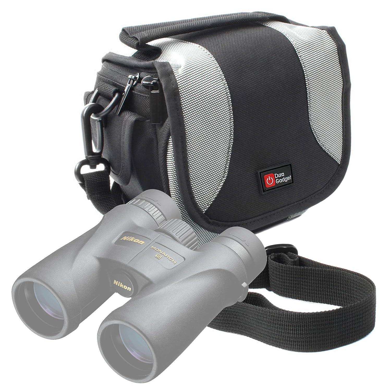 ライトブラウン中サイズキャンバスCarry Bag with複数のポケット&カスタマイズ可能なInterior for Nikon Monarch 5 10 x 42 | 5 12 x 42 | 5 8 x 42 | 7 10 x 30 | 7 10 x 42 | 7 8 x 30 | 7 8 x 42双眼鏡 – by DURAGADGET _ US ブラック B01MDK5NSJ  ブラックアンドグレー