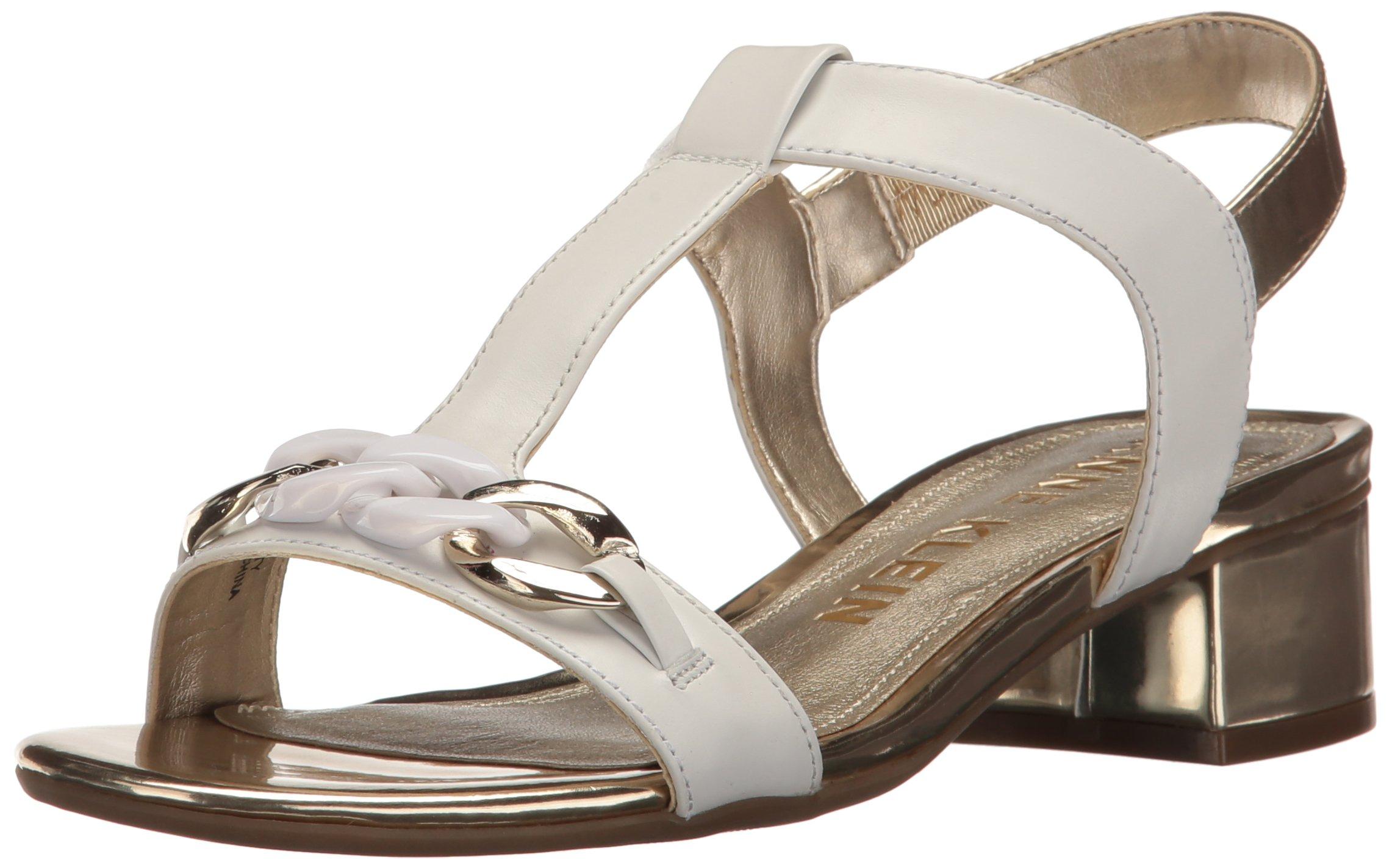 Anne Klein Women's Entity Leather, White/Gold, 6.5 M US