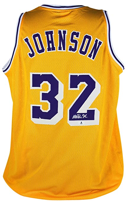 458713cbef1 Lakers Magic Johnson Authentic Signed Yellow Jersey Autographed BAS  Witnessed 1 at Amazon's Sports Collectibles Store
