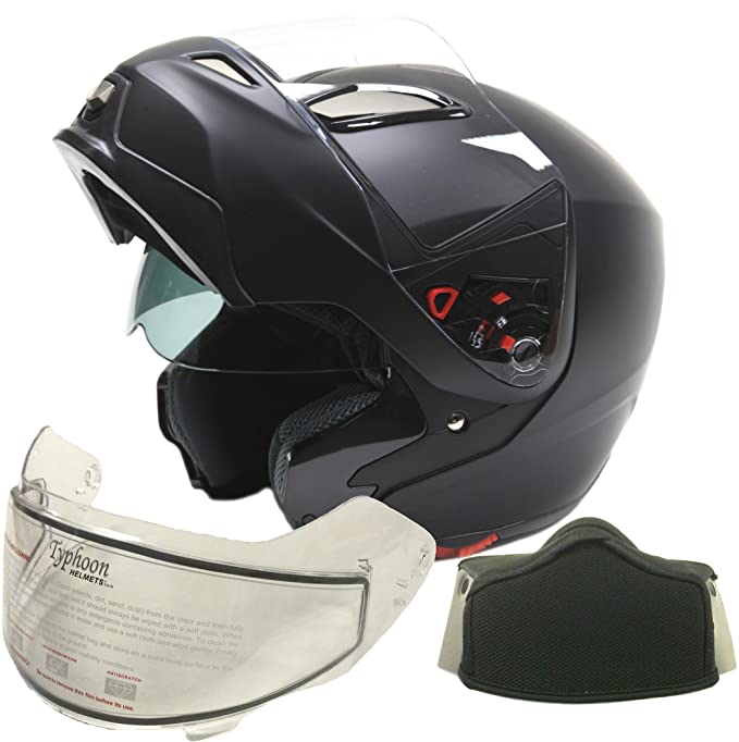 Dual Visor Modular Flip Up Snowmobile Helmet - Matte Black ( XXL )