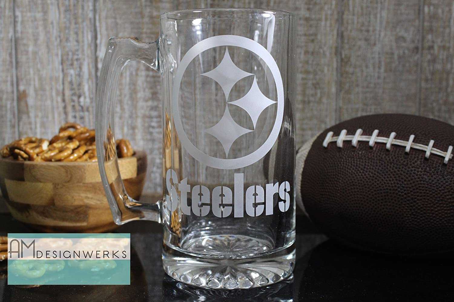 Pittsburgh Steelers Jumbo 28.5oz Hand Etched Glass Beer Mug