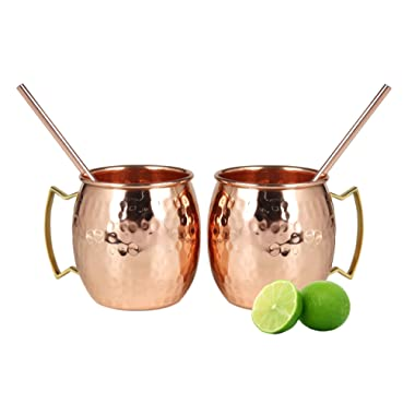 Moscow Mule Copper Mugs - Set of 2-100% HANDCRAFTED Food Safe Pure Solid Copper Mugs - 16 oz with BONUS: Highest Quality 2 Cocktail Copper Straws!