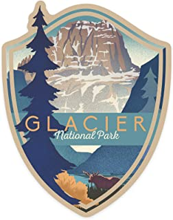 product image for Glacier National Park, Montana - Mountain Scene - Lithograph - Contour 97606 (Vinyl Die-Cut Sticker, Indoor/Outdoor, Large)