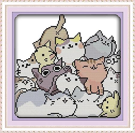 Chreey - Kit de Punto de Cruz | Los Gatos Preciosos | 25 x ...