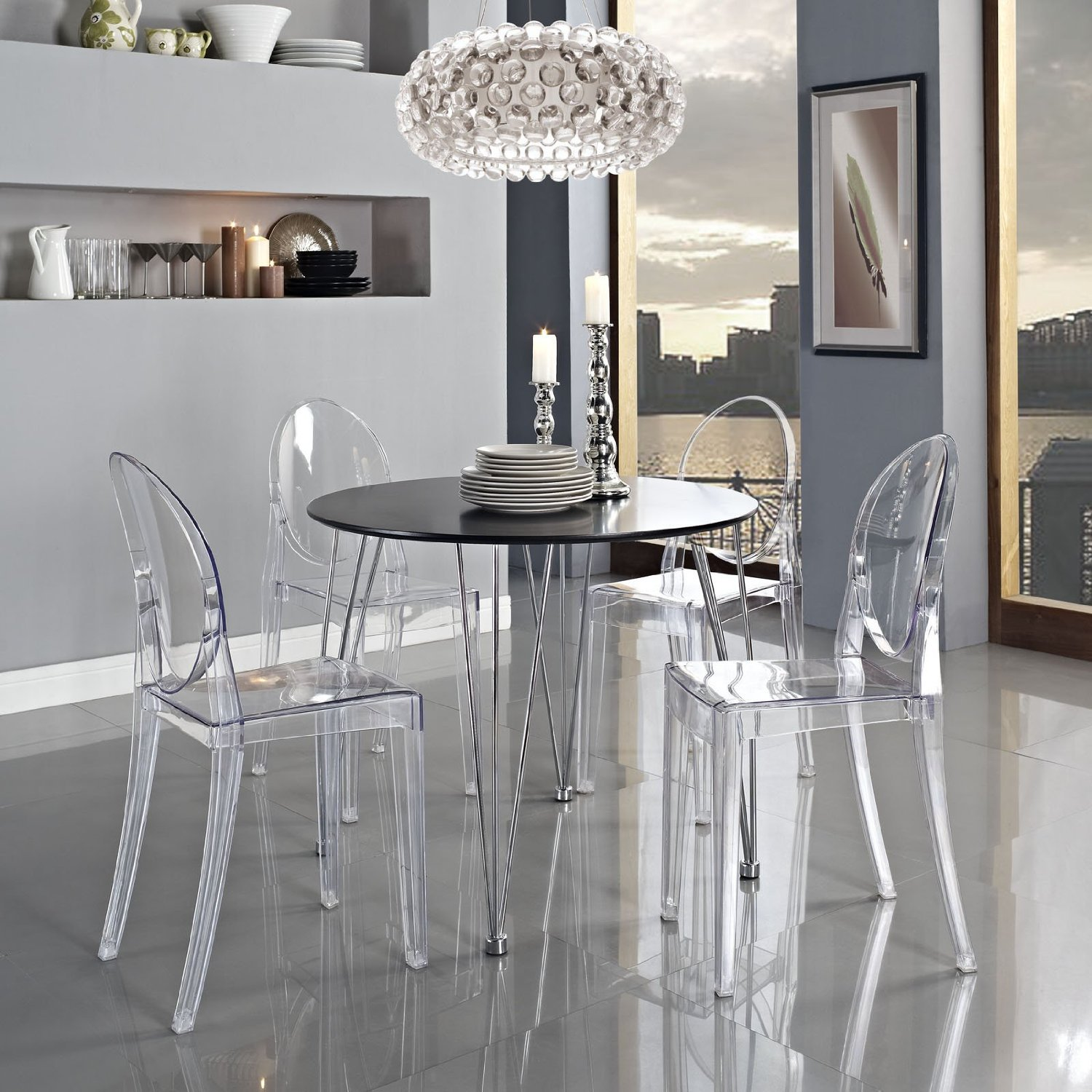 nicer furniture® set of  philippe starck louis xvi ghost side  - nicer furniture® set of  philippe starck louis xvi ghost side chairwithout armsmodern victoria dining chair polycarbonate plastic in cleartransparent