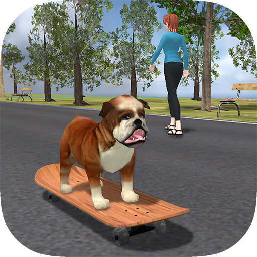 (Bulldog on Skateboard)