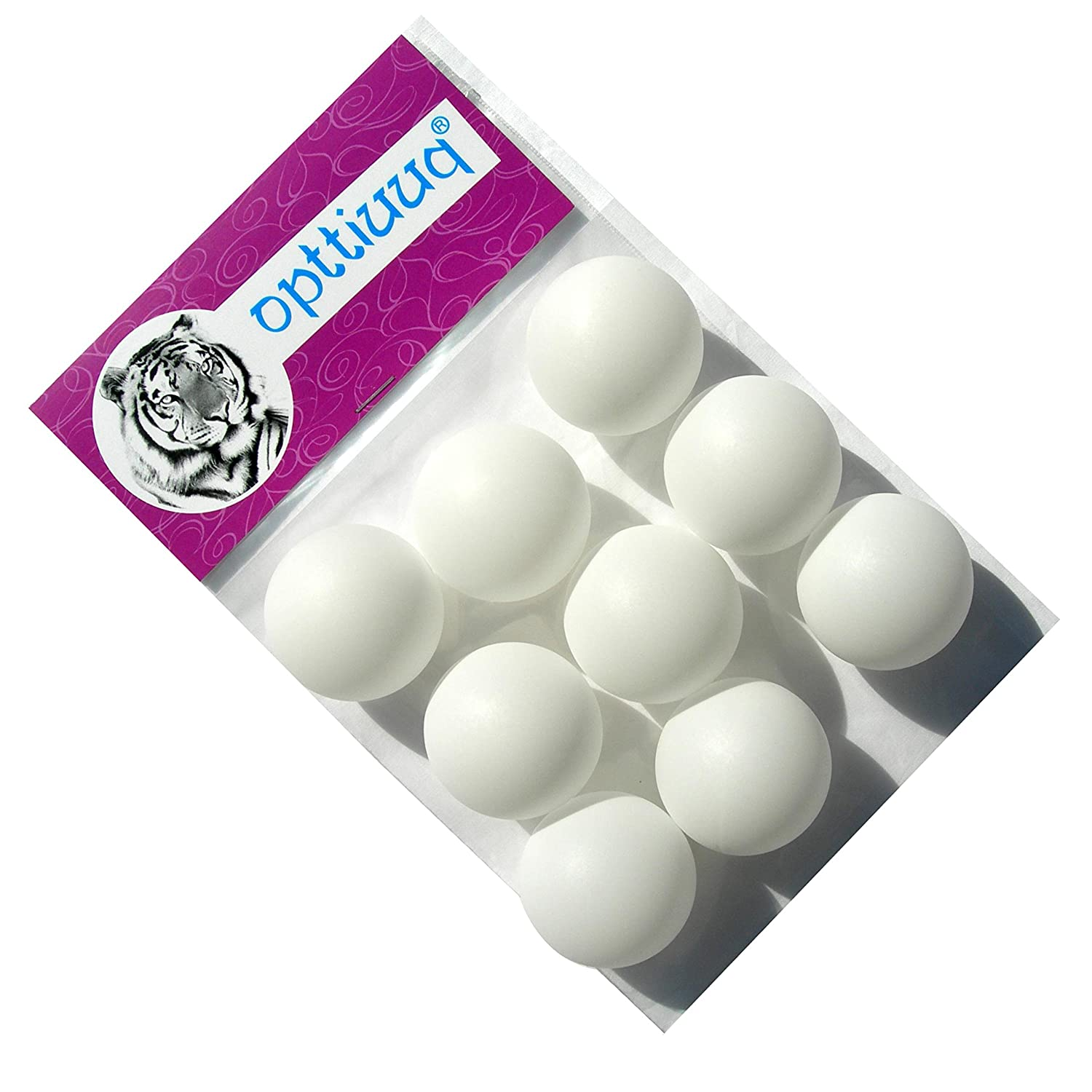 9 x Practice Quality Opttiuuq Qvu Plain White (No Logo) Table Tennis Balls. 40mm. Multipack