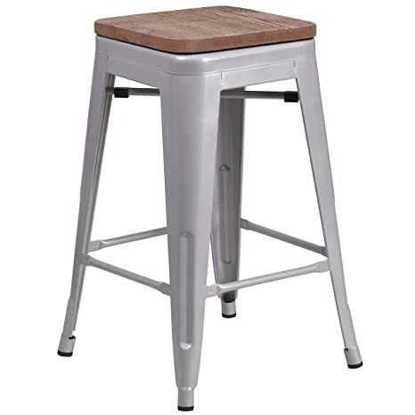 Sensational Taylor Logan 24 Inch High Backless Metal Counter Height Stool With Square Wood Seat Silver Ibusinesslaw Wood Chair Design Ideas Ibusinesslaworg