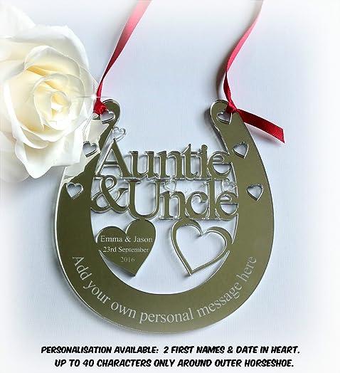 Personalised Auntie Uncle Wedding Bridal Gift Lucky Keepsake Horseshoe With Hearts AGiftForYouUK D161